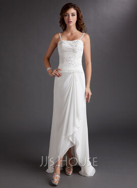 Sheath/Column Sweetheart Asymmetrical Chiffon Wedding Dress With Beading Appliques Lace Sequins Cascading Ruffles (002012020)