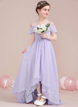 A-Line/Princess Off-the-Shoulder Asymmetrical Chiffon Junior Bridesmaid Dress With Cascading Ruffles (268177150)