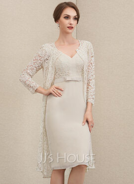 Sheath/Column V-neck Knee-Length Chiffon Lace Mother of the Bride Dress With Bow(s) (008204900)