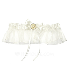 Attractive Satin Organza With Ribbons Rhinestone Beading Wedding Garters (104026192)