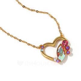 Ladies' Heart Shaped Crystal/Copper With Marquise Crystal Necklaces For Her