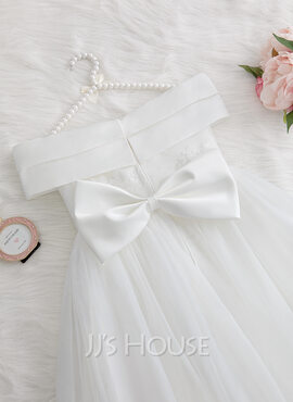 A-Line Floor-length Flower Girl Dress - Satin/Tulle/Lace Sleeveless Off-the-Shoulder With Beading/Flower(s)/Bow(s) (010207212)