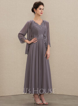 A-Line V-neck Ankle-Length Chiffon Mother of the Bride Dress With Beading Appliques Lace Sequins (008179203)
