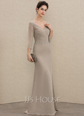 A-Line V-neck Floor-Length Chiffon Mother of the Bride Dress With Ruffle Beading Sequins (008179211)