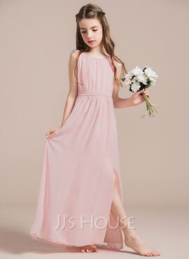 A-Line/Princess Scoop Neck Floor-Length Chiffon Junior Bridesmaid Dress With Ruffle Split Front (009087913)