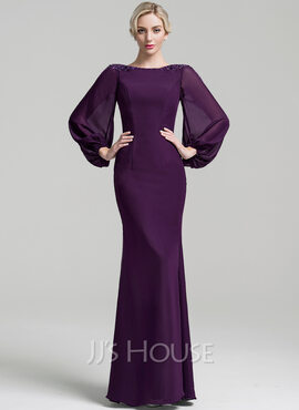 Trumpet/Mermaid Scoop Neck Floor-Length Chiffon Mother of the Bride Dress With Beading Sequins (008091951)