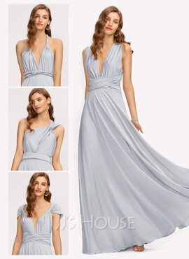 A-Line One-Shoulder V-neck Floor-Length Jersey Bridesmaid Dress (007221226)