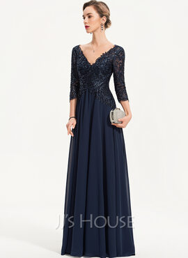 A-Line V-neck Floor-Length Chiffon Evening Dress With Sequins (017186134)