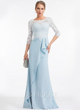Sheath/Column Scoop Neck Floor-Length Stretch Crepe Evening Dress With Ruffle (017198644)