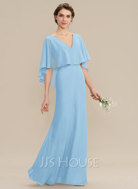 A-Line V-neck Floor-Length Chiffon Bridesmaid Dress (007176766)