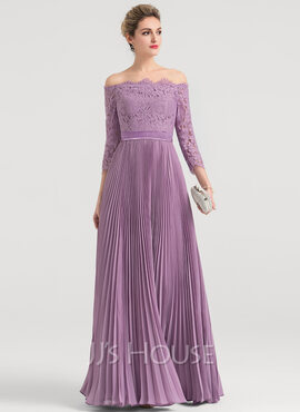 A-Line/Princess Off-the-Shoulder Floor-Length Chiffon Evening Dress With Pleated (271177425)