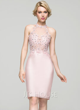 Sheath/Column Scoop Neck Knee-Length Jersey Homecoming Dress With Beading Sequins (022087616)