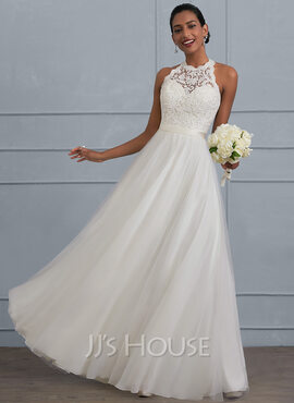 A-Line Scoop Neck Floor-Length Tulle Wedding Dress (002124265)