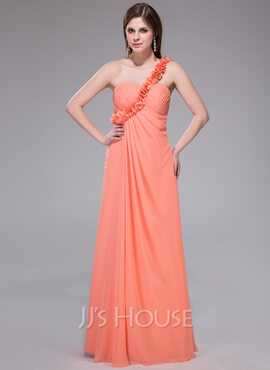 Empire One-Shoulder Floor-Length Chiffon Holiday Dress With Ruffle Flower(s) (007037341)