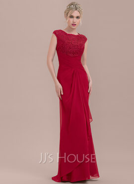 Sheath/Column Scoop Neck Floor-Length Chiffon Lace Bridesmaid Dress With Cascading Ruffles (266177049)