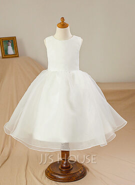 Ball Gown Knee-length Flower Girl Dress - Satin/Tulle Sleeveless Scoop Neck (010094054)