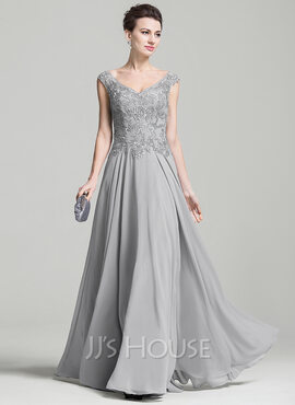 A-Line V-neck Floor-Length Chiffon Mother of the Bride Dress With Appliques Lace (008074209)