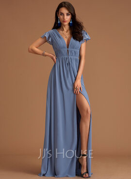 V-Neck Short Sleeves Maxi Dresses (293250136)