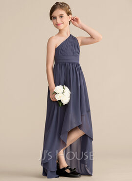 A-Line One-Shoulder Asymmetrical Chiffon Junior Bridesmaid Dress With Ruffle (009165035)