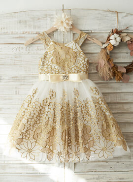 A-Line/Princess Knee-length Flower Girl Dress - Tulle/Lace Sleeveless Straps With Bow(s)/Rhinestone