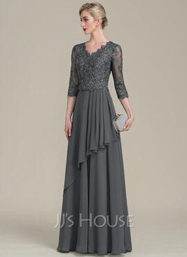 A-Line/Princess V-neck Floor-Length Chiffon Lace Mother of the Bride Dress With Beading Sequins Cascading Ruffles (008107653)