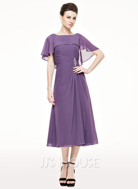 A-Line/Princess Scoop Neck Tea-Length Chiffon Mother of the Bride Dress With Ruffle Beading Sequins (008062543)