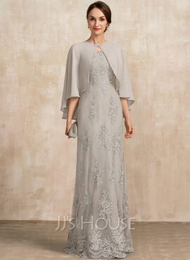A-Line Square Neckline Floor-Length Lace Mother of the Bride Dress (008217313)