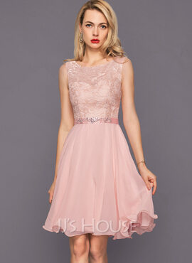 A-Line Scoop Neck Knee-Length Chiffon Cocktail Dress With Beading Sequins (016140359)