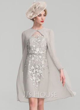 Sheath/Column Scoop Neck Knee-Length Chiffon Lace Mother of the Bride Dress With Beading Sequins (008107660)
