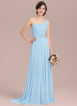 A-Line/Princess One-Shoulder Sweep Train Chiffon Bridesmaid Dress With Appliques Lace Sequins (266177072)