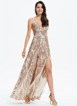A-Line V-neck Floor-Length Sequined Prom Dresses With Split Front (018175952)