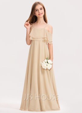 A-Line Off-the-Shoulder Floor-Length Chiffon Junior Bridesmaid Dress With Cascading Ruffles (009191737)