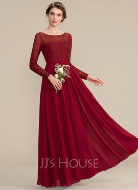 A-Line Scoop Neck Floor-Length Chiffon Lace Bridesmaid Dress (007176769)