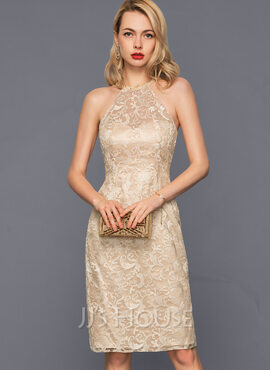 Sheath/Column Scoop Neck Knee-Length Lace Cocktail Dress With Beading Sequins (016140395)