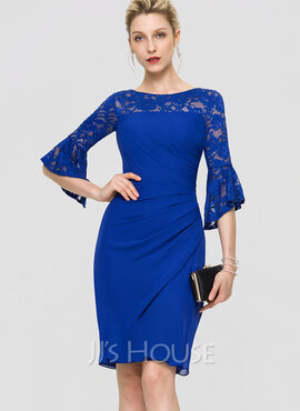 Sheath/Column Scoop Neck Knee-Length Chiffon Cocktail Dress (016197103)