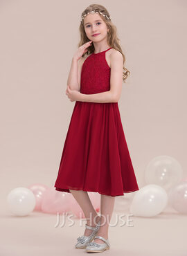 A-Line/Princess Scoop Neck Knee-Length Chiffon Junior Bridesmaid Dress (009119589)