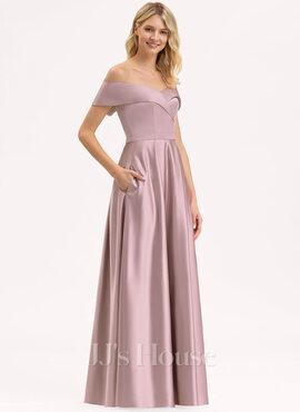 Hors-la-épaule Longueur ras du sol Satiné Robe de demoiselle d'honneur avec Poches (266224311)