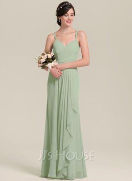 A-Line Sweetheart Floor-Length Chiffon Bridesmaid Dress With Cascading Ruffles (007126452)
