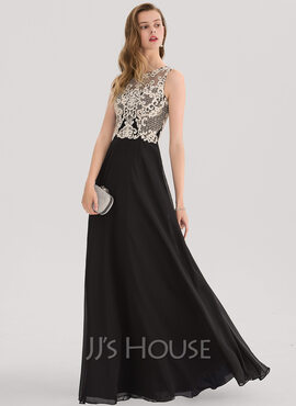 A-Line Scoop Neck Floor-Length Chiffon Prom Dresses With Beading Sequins (018138332)