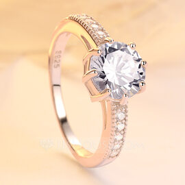 925 Sterling Silver With Round Cubic Zirconia Rings/Engagement Rings/Promise Rings For Bride (011224458)