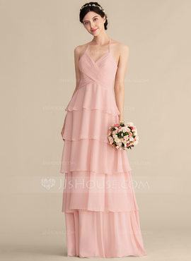 A-Line/Princess Sweetheart Floor-Length Chiffon Bridesmaid Dress With Cascading Ruffles (007165823)