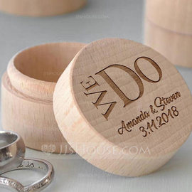 Groom Gifts - Personalized Elegant Wooden Ring Box (257186420)