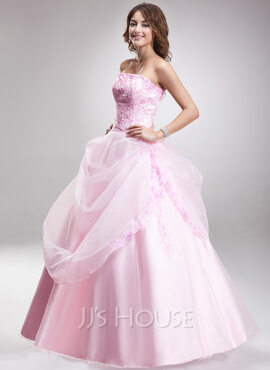 Ball-Gown Sweetheart Floor-Length Organza Quinceanera Dress With Ruffle Beading (021016895)
