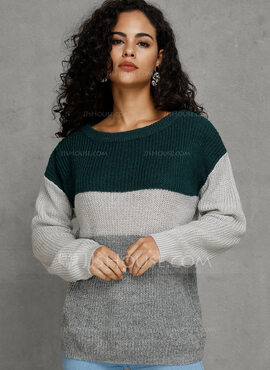 Color Block Off the Shoulder Pullovers Sweater Dresses Sweaters