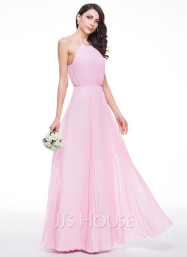 A-Line/Princess Scoop Neck Floor-Length Chiffon Bridesmaid Dress With Bow(s) Pleated