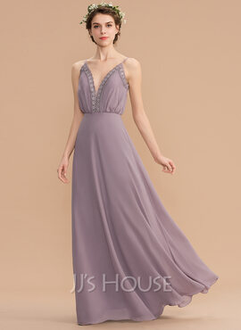 A-Line V-neck Floor-Length Chiffon Bridesmaid Dress With Lace (007165873)