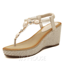 Women's Leatherette Wedge Heel Sandals With Rhinestone shoes (087093240)