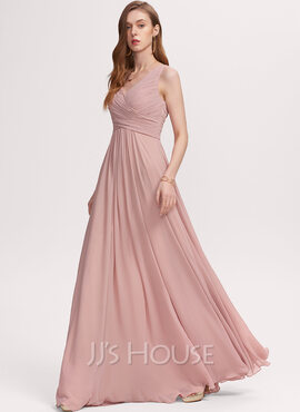 A-Line V-neck Floor-Length Chiffon Bridesmaid Dress With Ruffle (007234394)
