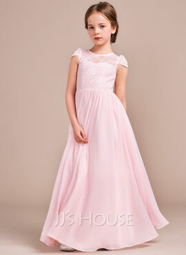 A-Line/Princess Floor-length Flower Girl Dress - Chiffon/Lace Sleeveless Scoop Neck (010096124)