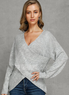Ribbed Solid Acrylic V-neck Pullovers Sweaters (1002228696)